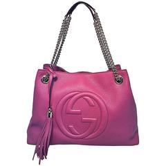Gucci Dark Pink Leather Soho Shoulder Bag Tote