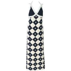 Galanos Ivory and Navy Diamond Print Silk Gown w/ white beaing-8-Circa 90's