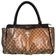 Gucci Coated Monogram Canvas Ruched Bottom Tote Bag