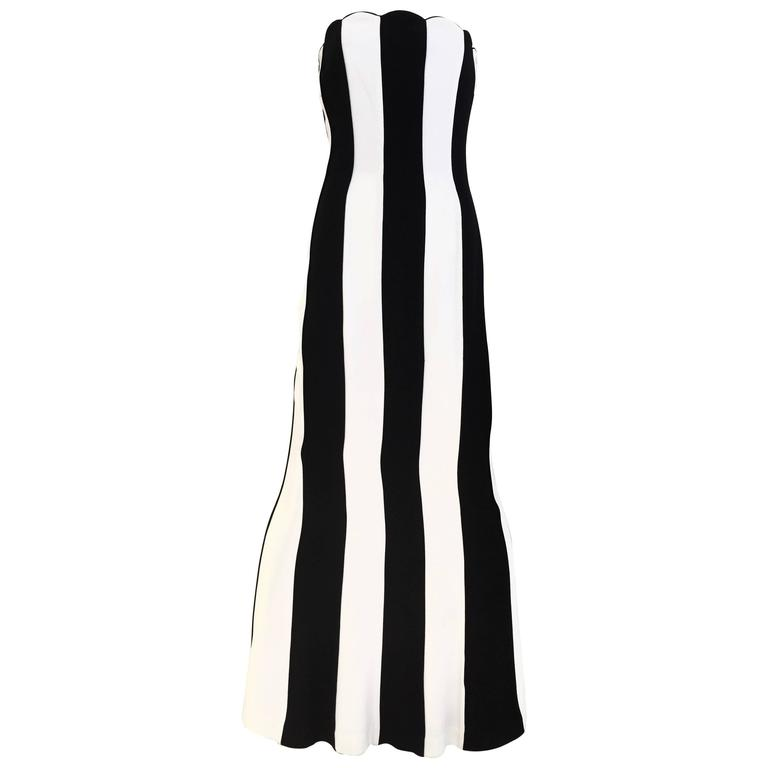 1990s VALENTINO Black and White Strapless Gown