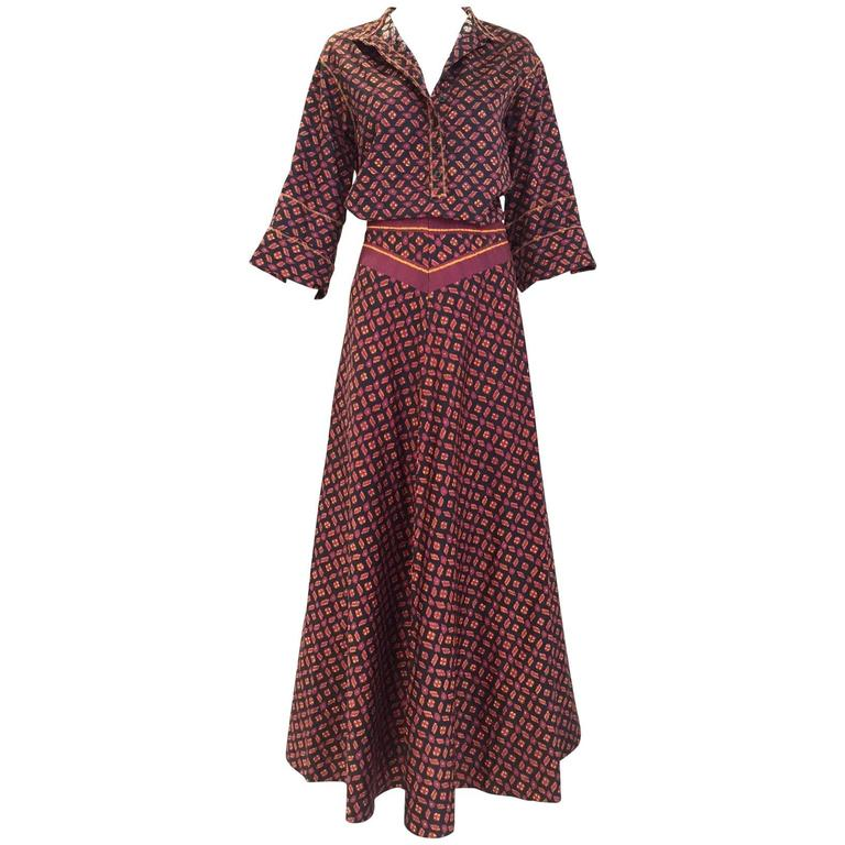 1970s Anne Klein Burgundy and Black Ikat print Blouse and Skirt set For Sale