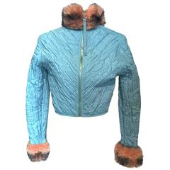 Jean Paul Gaultier quilted cropped jacket with fur details, Sz. S