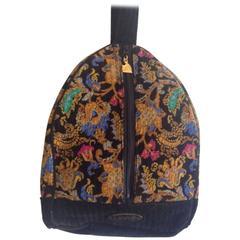 Vintage LANVIN Edwardian flower paisley chenille hobo bag,pink, blue, green etc