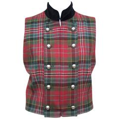 C.1990 Ralph Lauren Military Style Plaid & Velvet Wool Vest