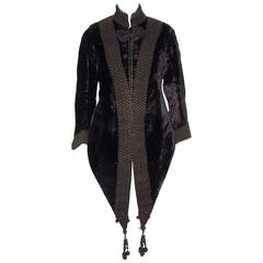 Amazing C.1900 Victorian Velvet Mantle Coat With Soutache & Lappet Tails