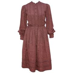 C.1980 Adele Simpson Chocolate Brown Moire Dress With Organza Lining