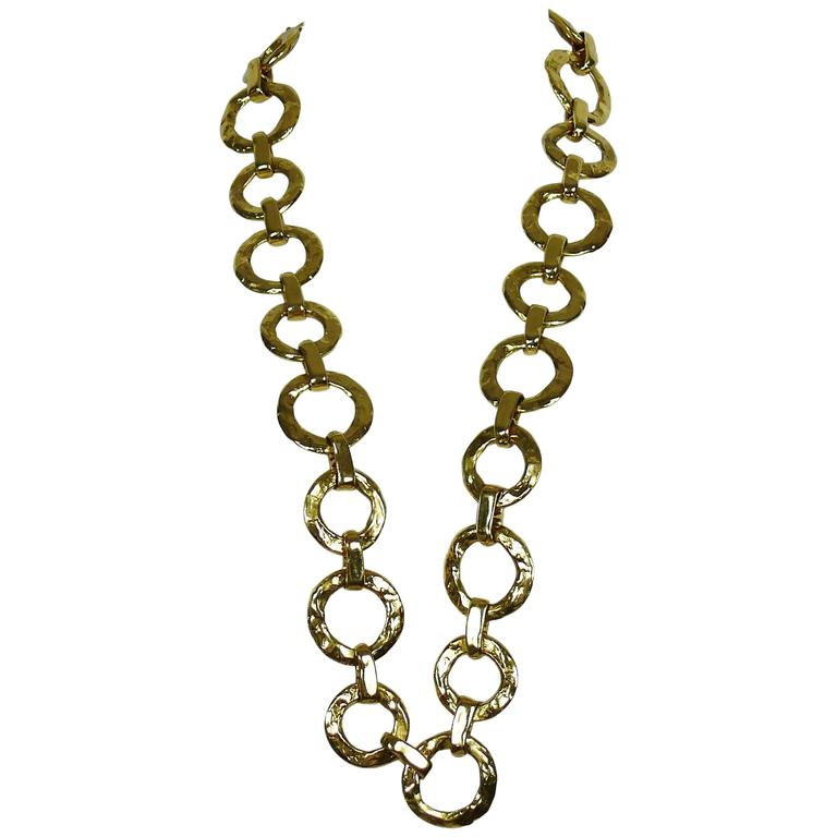 f6840e4c4c4 Yves Saint Laurent YSL Vintage Chunky Gold Toned Necklace and Belt For Sale