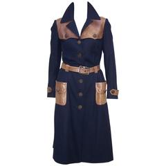 1970's Roberta Di Camerino Navy Blue Wool Trench Coat With Leather Details