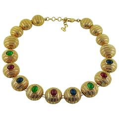 Christian Dior Vintage Gold Tone Poured Glass Necklace