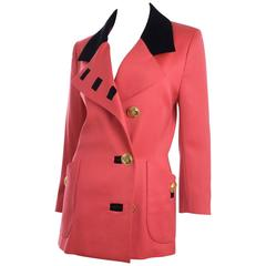 Jaques Fath Jacket in Lipstick Red and Black Velvet
