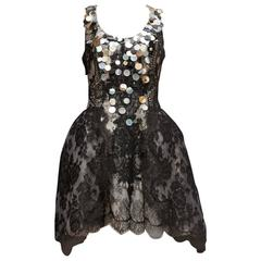 2000s Christian Lacroix Black Lace and Irisdescent Sequins Cocktail Dress