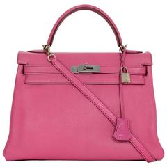 Hermes RARE Hot Pink Rose Tyrien Chevre Leather 32cm Kelly Bag with Strap PHW