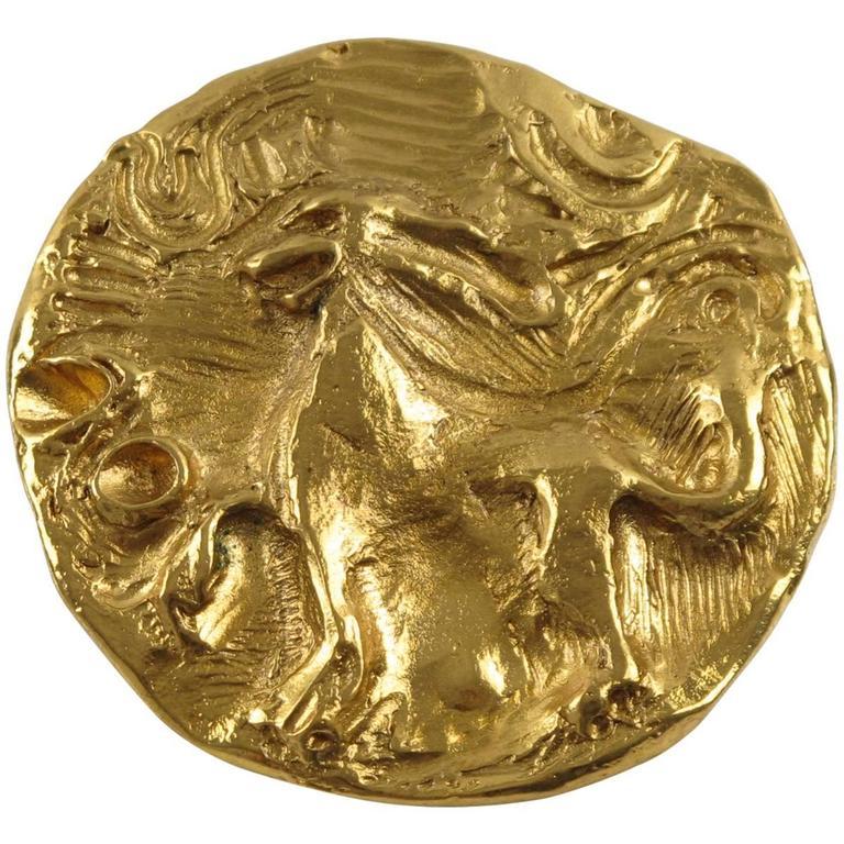 Yves Saint Laurent YSL Paris Signed Pin Brooch Pendant Mythical Lion Design For Sale