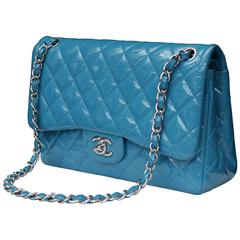 2000s Chanel Jumbo Timeless Bag in Patent Turquoise Leather and Silver Hardware
