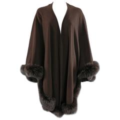 Givenchy Vintage Brown Wool Cape Shawl Wrap with Fox Fur Trim
