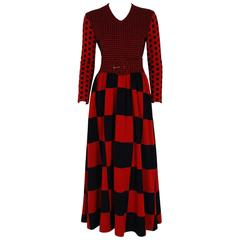 1971 Rudi Gernreich Red & Black Op-Art Checkered Wool Knit Belted Maxi Dress