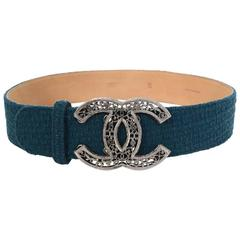 Chanel Teal Tweed CC Belt Sz 85 with Box
