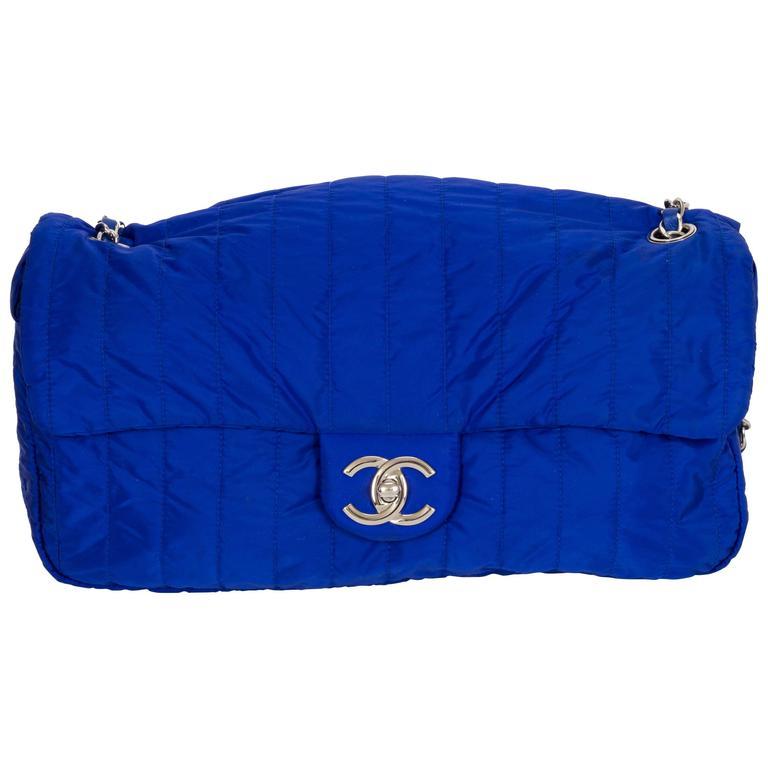 chanel bags blue. chanel electric blue nylon jumbo flap bag 1 bags
