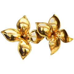 1990s Valentino Couture Gilt Flower Clip On Earrings