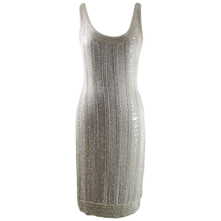 Silver heavily hand  beaded Dress