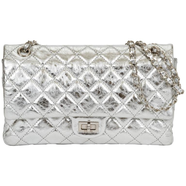 0bd8908ead9f Chanel Silver Metallic 2.55 Reissue Classic Bag For Sale. Chanel limited  edition metallic reissue double flap. Leather interwoven chain. Shoulder  strap ...