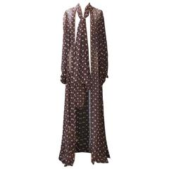 1970s Yves Saint Laurent Brown Silk Polka Dots Vest