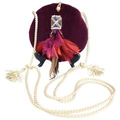 1980s Isabel Canovas Evening Bag in Burgundy Velvet, Glass and Feathers