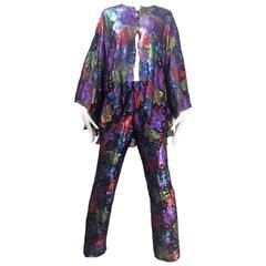 1970s Silk metallic print blouse and pants ensemble