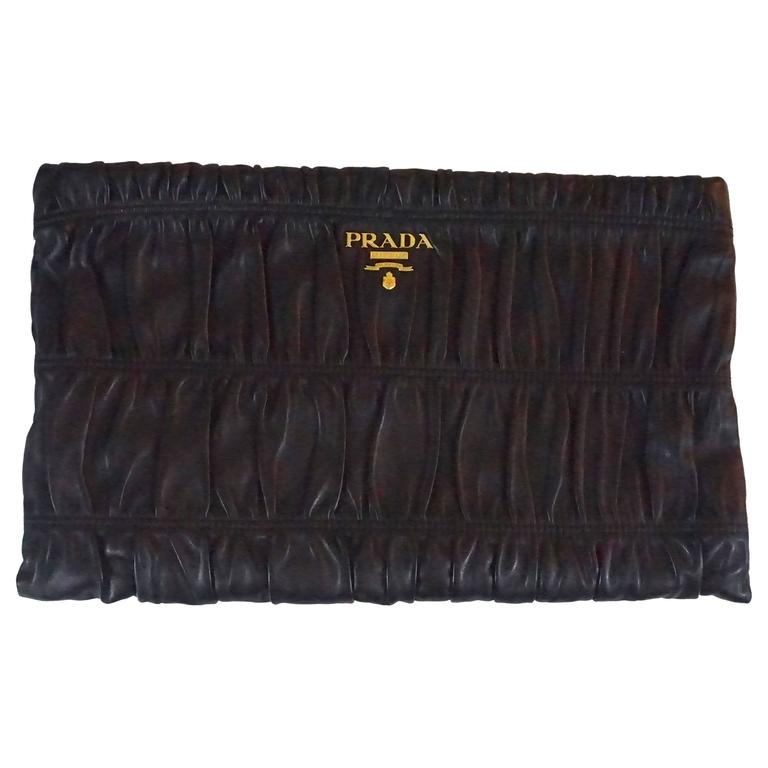 Prada Black Ruched Lambskin Nappa Gaufre Clutch - GHW For Sale