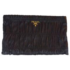 Prada Black Ruched Lambskin Nappa Gaufre Clutch - GHW