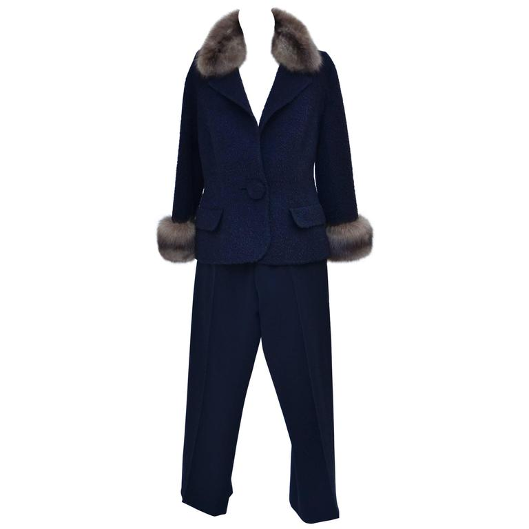 Valentino haute couture fur trimmed pant suit at 1stdibs for Haute couture suits