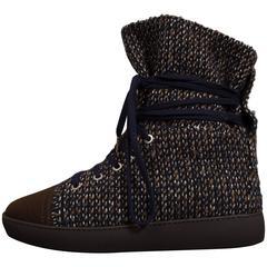 Chanel high top tweed sneaker boot, EU 37