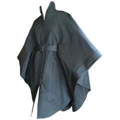 Chado Ralph Rucci Sculptural Taffeta Belted Cape Coat