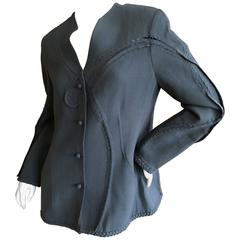 Chado Ralph Rucci Gray Jacket with Woven Details