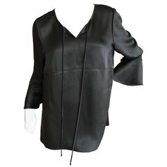 Chado Ralph Rucci Black Silk Bell Sleeve Top