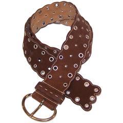 C.2000 Prada Bohemian Inspired Brown Suede Studded Jeans Belt