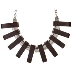 1930s Art Deco Bakelite Chrome Geometric Bib Collar Statement Necklace