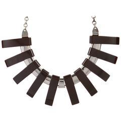 1930s Art Deco Bakelite Chrome Geometric Bib Collar Statement Necklace