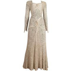 Ann Dawson metallic ivory lame lace knit evening dress, circa 1930s