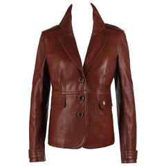 GUCCI Classic Brown Leather Button Front Slim Line Jacket Blazer Size 46