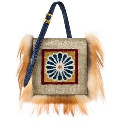 "2012 FENDI ""Daisy"" Beaded Genuine Snakeskin Fox Fur Trim Crossbody Clutch Bag"