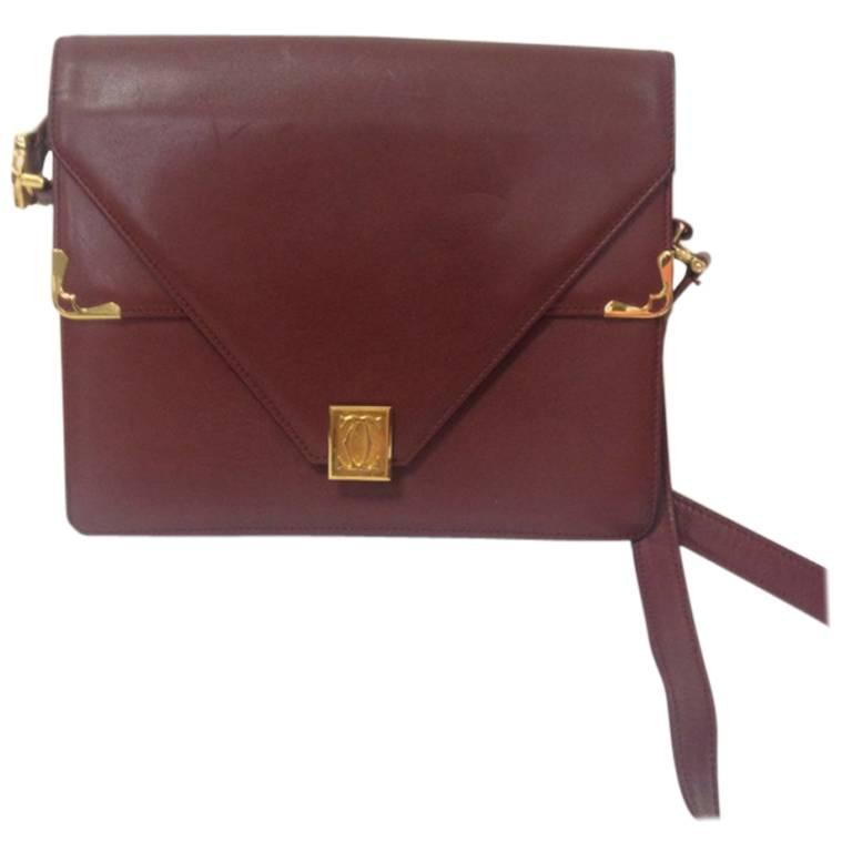 Vintage Cartier double flap envelope classic shoulder bag. Must de Cartier line.