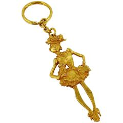 Christian Lacroix Vintage Gold Tone Figural Key Ring Bag Charm