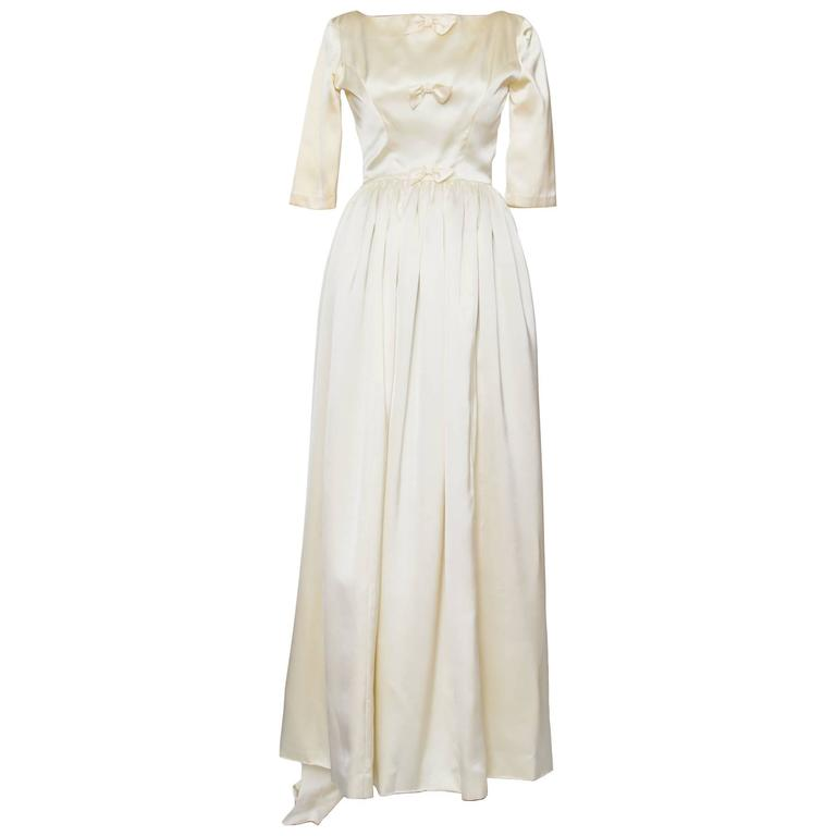 1960 Maggy Rouff Silk Wedding Gown W. Bows