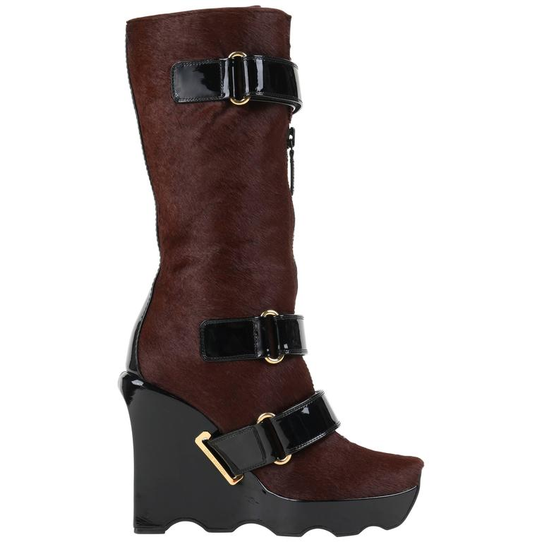 LOUIS VUITTON Brown Calf Hair Patent Wedge Platform Runway Boots F/W 06 Rare  For Sale
