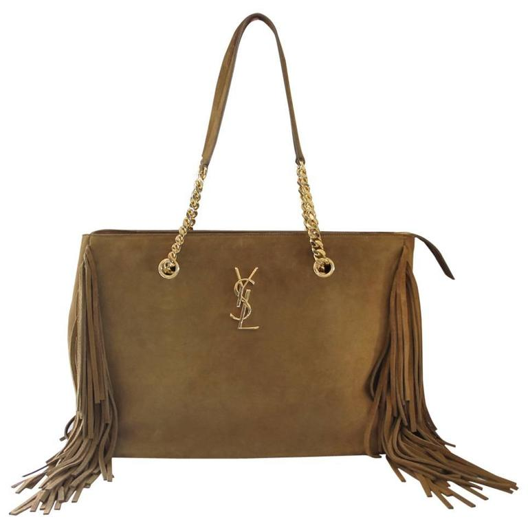 Yves Saint Laurent YSL Saddle Suede Fringe Tassel Bag with Dust Bag For Sale