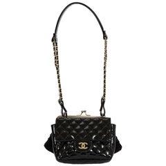 Chanel Black Lace & Patent Double Bag