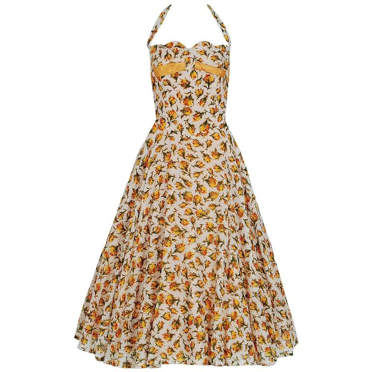 1950's Lilli Diamond Yellow-Roses Floral Textured Cotton Halter Back-Bow Dress For Sale