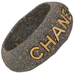 Chanel Rare Grey Stone Signature Cuff Bracelet
