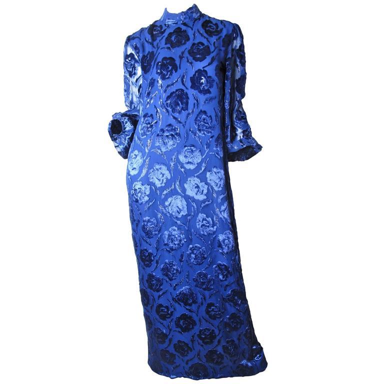 Adele Simpson Royal Blue Floral Burnt Velvet Evening Gown 1